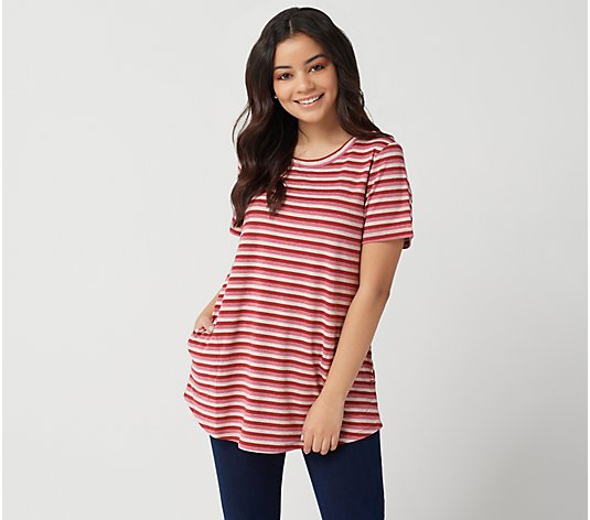 LOGO by Lori Goldstein Metallic Stripe Knit Top with Short Sleeves