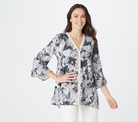 Logo By Lori Goldstein Print Rayon 230 Cardigan With Lace Ruffles