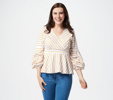 Du Jour Striped Woven Blouse