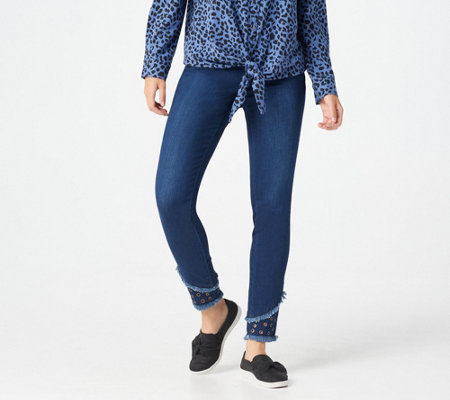 Belle by Kim Gravel Regular TripleLuxe Denim Grommet Jegging