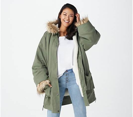Peace Love World Oversized Sherpa Lined Coat
