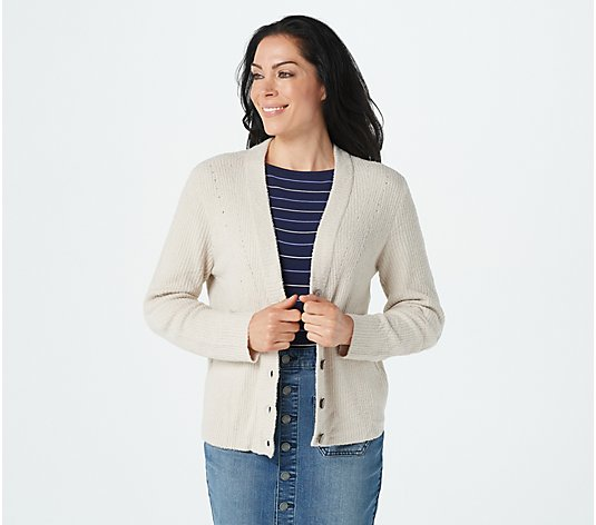 Barefoot Dreams CozyChic Lite Ribbed Button Front Cardi
