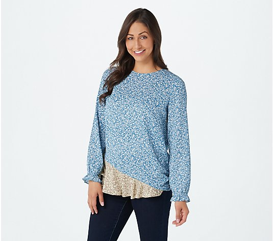 LOGO by Lori Goldstein Printed Chiffon Blouse with Contrast Panels