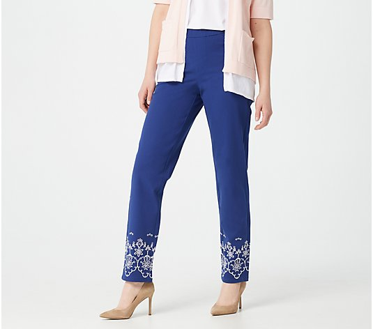 Isaac Mizrahi Live! Tall 24/7 Stretch Embroidered Ankle Pants