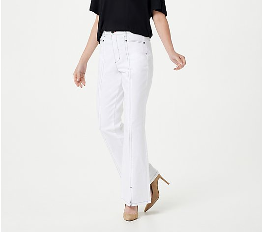 Peace Love World White Wash High Front Slit Jeans