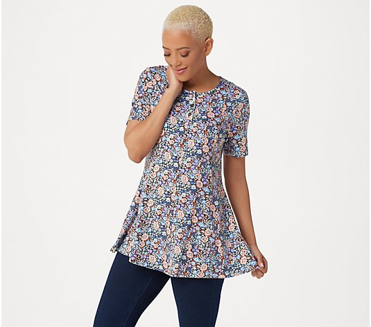 """As Is"" Denim & Co. Petite Printed Jersey Fit & Flare Top"