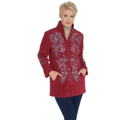Bob Mackie's Embroidered Fleece Jacket with Quilted Collar