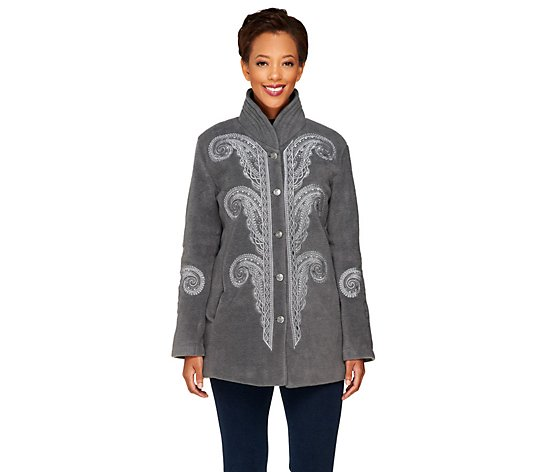 Bob Mackie Embroidered Fleece Jacket with Quilted Collar