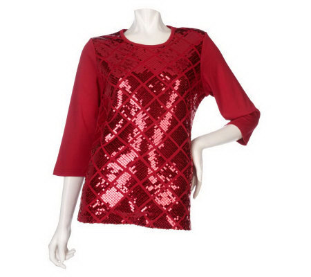 Quacker Factory Sequin Diamond 3/4 Sleeve T-Shirt