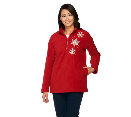 Quacker Factory Rhinestone 1/2 Zip Embellished Fleece Pullover