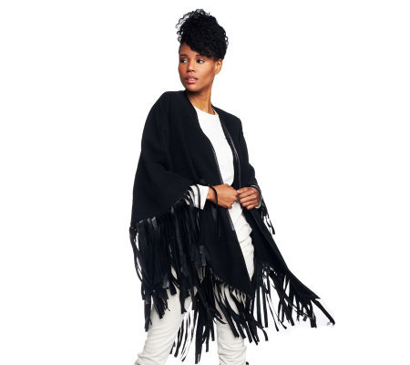 VT Luxe Faux Wool Cape with Fringe Trim