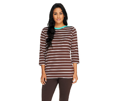 Denim & Co. 3/4 Sleeve Bateau Neck Striped Knit Top