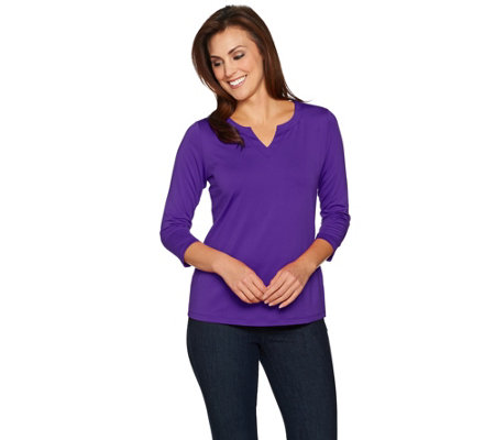 Susan Graver Essentials Butterknit 3/4 Sleeve Split Neck Top