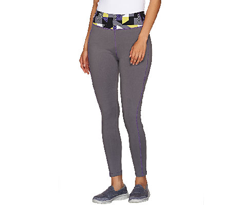 Denim & Co. Active Duo-Stretch Legging with Waistband Print