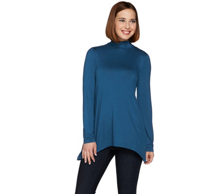 LOGO Layers by Lori Goldstein Long Sleeve Mock Neck Knit Top