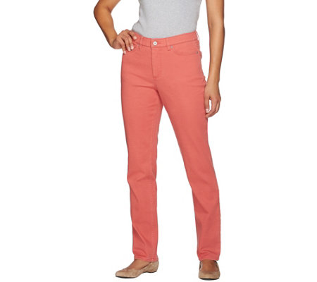 "Denim & Co. ""How Slimming"" Petite Colored Denim Straight Leg Jeans"