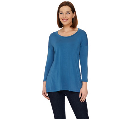 H by Halston Essentials Knit Scoop Neck 3/4 Sleeve Tunic