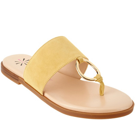 Isaac Mizrahi Live Suede Sandals With Hardware