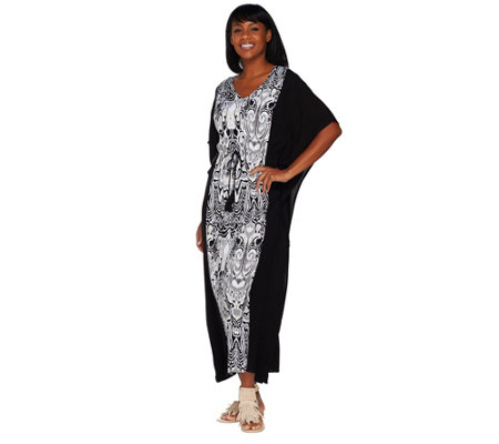 C. Wonder Petite V-Neck Color Block Printed Caftan
