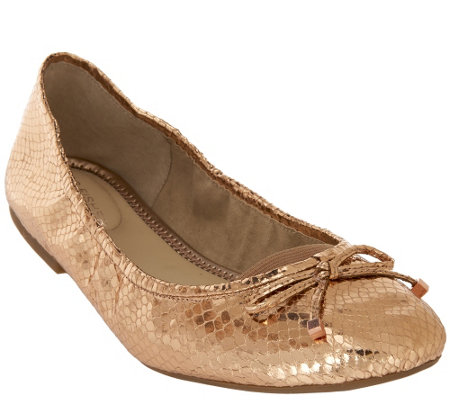 """As Is"" Marc Fisher Metallic Ballet Flats w/ Bow Accent - Calandre"