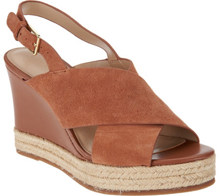 """As Is"" H by Halston Sling- Back Crossover Espadrille Wedges - Stella"