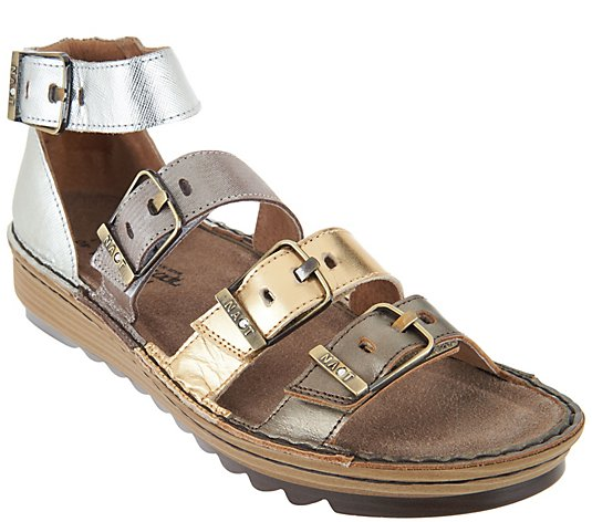 Naot Leather Sandals with Buckle Details - Begonia