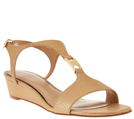 """As Is"" Judith Ripka Leather T-Strap Wedge Sandals - Roseanne"