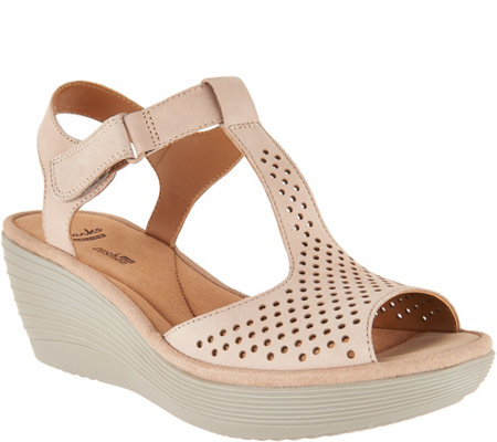 Clarks Leather T-Strap Wedge Sandals - Reedly Waylin