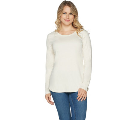 Isaac Mizrahi Live! Essentials Pima Cotton Curved Hem Tunic