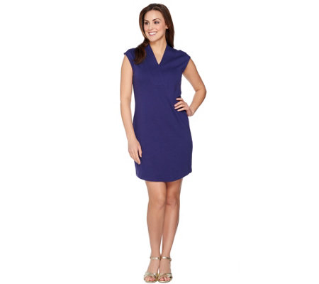 """As Is"" Isaac Mizrahi Live! Essentials Crossover V-Neck Dress"