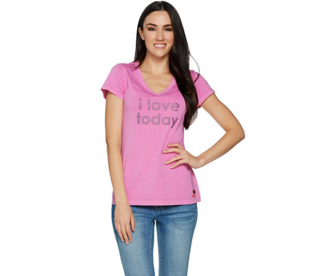 Peace Love World Pima Cotton Knit Top with Affirmation
