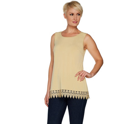 Joan Rivers Jersey Knit Tank with Shimmering Crochet Hem