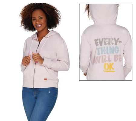 Peace Love World French Terry Zip Front Hoodie