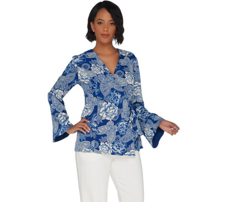 Linea by Louis Dell'Olio Faux Wrap Printed Top