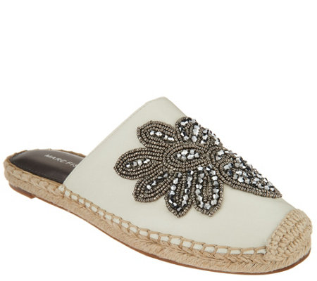 Marc Fisher Embellished Leather Espadrille Mules - Garden