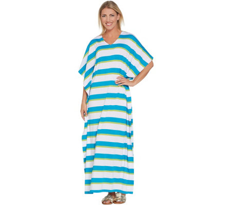 Joan Rivers Petite Length Bold Striped Knit Caftan