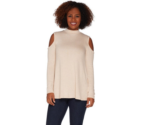 Lisa Rinna Collection Cold Shoulder Knit Top with Back Detail
