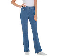 Quacker Factory Short DreamJeannes Pull-On Boot Cut Pants - A309860