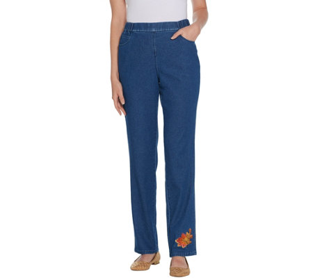Quacker Factory Embroidered Straight Leg Denim Pants with Pockets