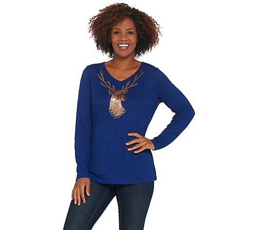 Quacker Factory Metallic Reindeer Long-Sleeve Knit Top