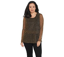 Joan Rivers Shimmering Metallic Double Layer Knit Top - A344560