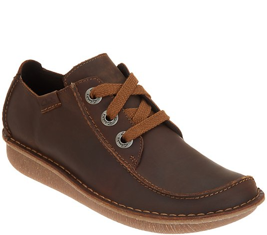 Clarks Unstructured Leather Lace-Up Shoes- Funny Dream
