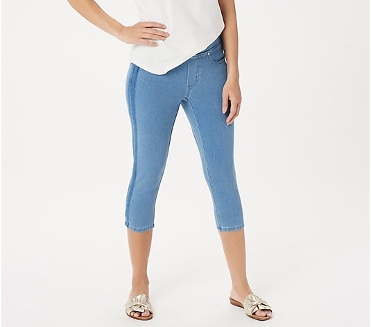 Belle by Kim Gravel Flexibelle Tuxedo Stripe Pull-On Jeans