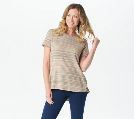 Lisa Rinna Collection Space Dyed Short-Sleeve Top