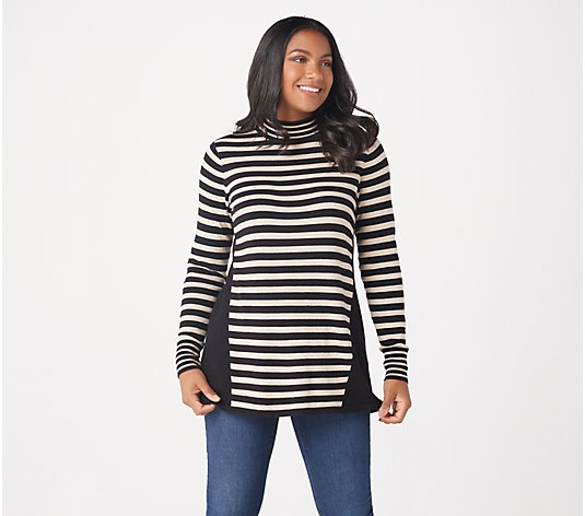 Susan Graver Striped Cotton Rayon Nylon Sweater w/Button Detail