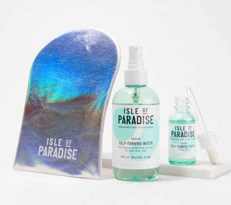 Isle Of Paradise Self Tanning Drops Water Set With Mitt