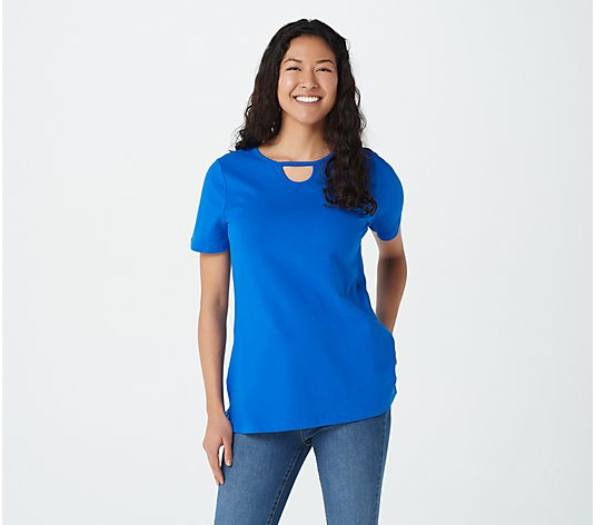 Denim & Co. Essentials Jersey Tunic with Keyhole Detail
