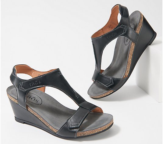 Taos Leather Wedge Sandals- Sheila