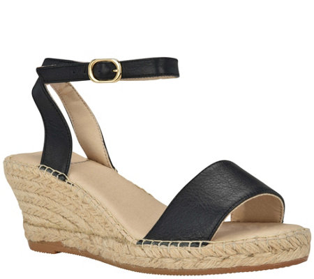 Andrew Stevens Wedge Espadrille Sandals- Leah