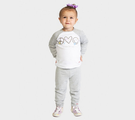 Peace Love World Triple Symbol Paint Splatter 2 Pc Infant Set